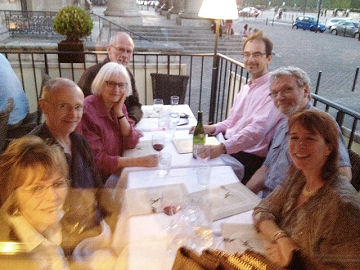 Friday dinner at Brasserie du Théâtre (photo by that friendly Italian waiter) -- click to enlarge