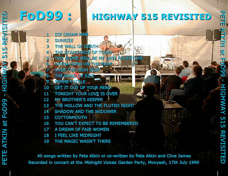 'FoD99 : Highway 515 Revisited' CD Cover (back)