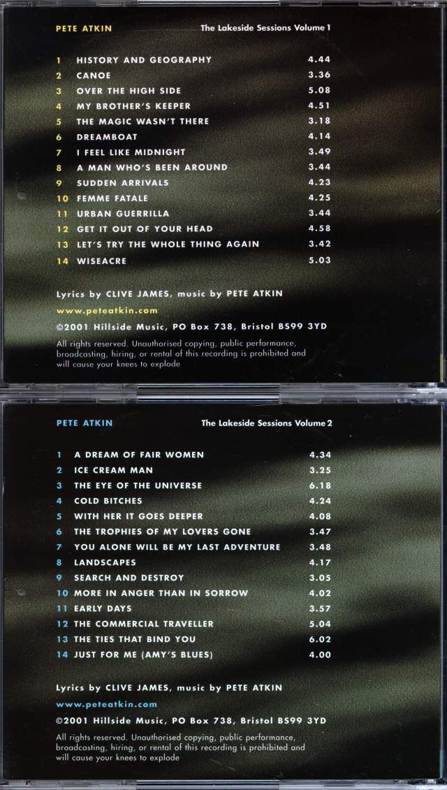 'The Lakeside Sessions' CD Back Covers