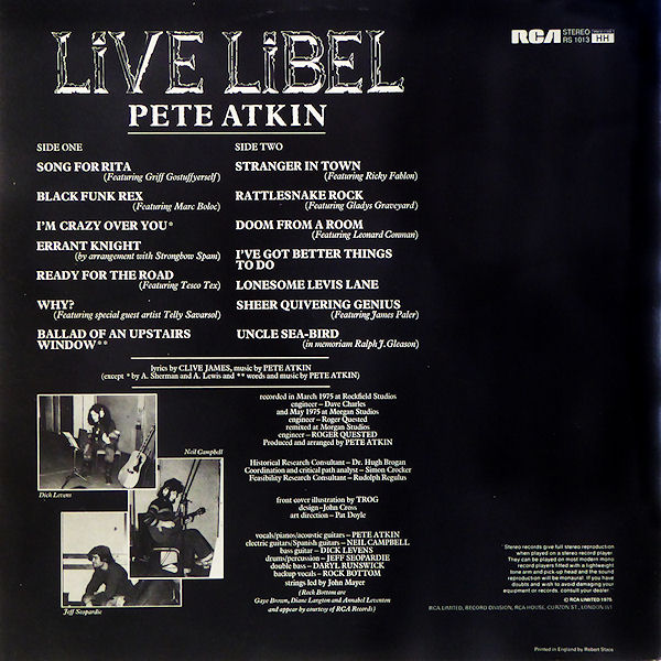 'Live Libel' Album Cover (back)